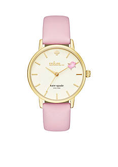 kate spade new york Women's Pink Vachetta Leather and Gold-Tone Metro Watch