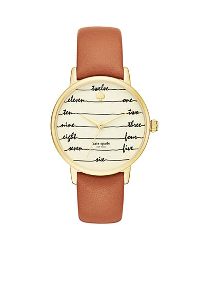kate spade new york® Women's Gold-Tone Metro Luggage Leather Watch