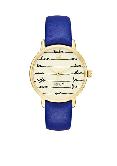 kate spade new york® Women's Gold-Tone Metro Blue Leather Watch