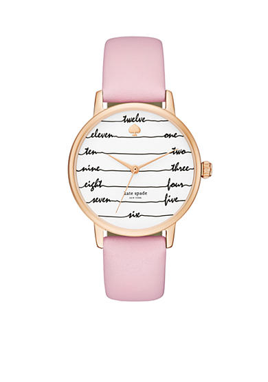 kate spade new york® Women's Rose Gold-Tone Metro Pink Leather Watch