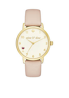 kate spade new york Women's Gold-Tone Leather Metro Watch
