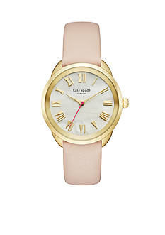 kate spade new york Women's Gold-Tone Crosstown Vachetta Leather Watch