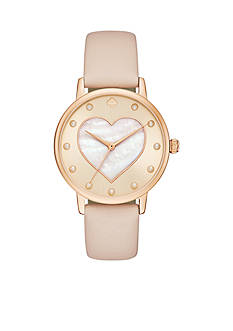 kate spade new york Vachetta Leather And Rose Gold-Tone Metro Watch