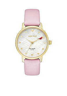 kate spade new york Pink Leather and Gold-Tone Metro Watch