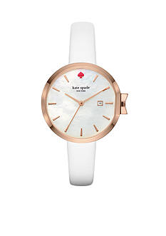 kate spade new york Women's White Leather Park Row Watch