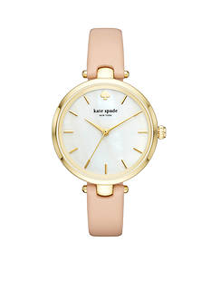 kate spade new york® gold-tone and vachetta leather holland watch