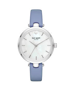 kate spade new york® Silver-Tone and Blue Wash Leather Holland Watch