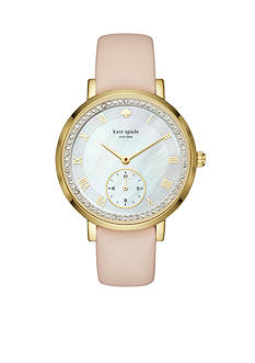 kate spade new york® Gold-Tone And Vachetta Leather Monterey Watch