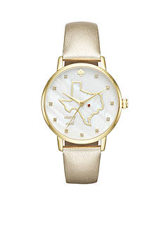 kate spade new york Gold-Tone And Gold Leather Texas Metro Watch