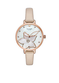 kate spade new york® Rose Gold-Tone And Vachetta Leather Metro Watch