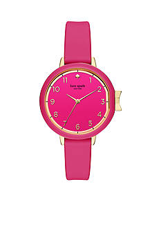 kate spade new york® Gold-Tone Bougainvillea Pink Silicone Park Row Watch