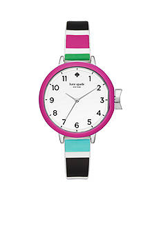 kate spade new york® Silver-Tone Multicolored Silicone Park Row Watch