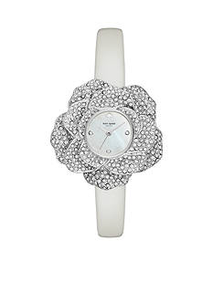 kate spade new york® Silver-Tone Pave Crystal and White Pearlized Leather Watch