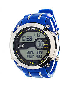 EVERLAST Silver & Blue Digital Rubber Watch