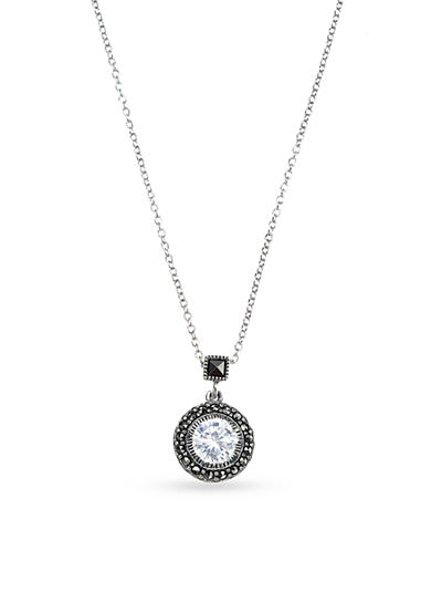 Judith Jack Sterling Silver Round Cubic Zirconia Pendant Necklace