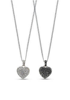 Judith Jack Reversible Crystal Heart Pendant Necklace