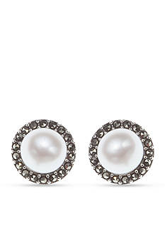 Judith Jack Pearl and Marcasite Button Earrings