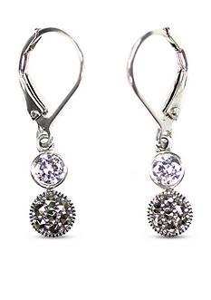 Judith Jack Cubic Zirconia and Marcasite Double Drop Earrings