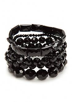 Kim Rogers 5-Piece Black Glass Bead Bracelet Set