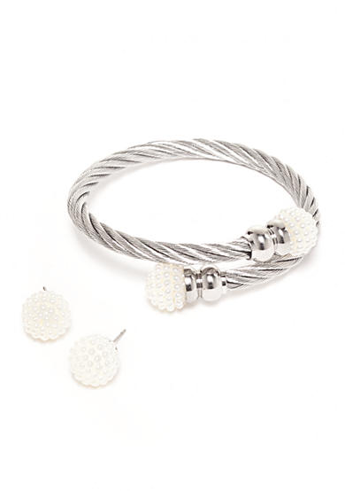 Kim Rogers® Silver-Tone Rope Bracelet and Multi Pearl Earrings Boxed Set