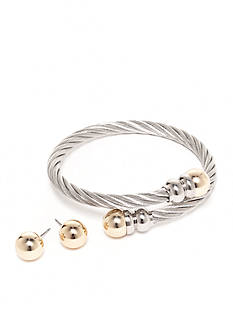 Kim Rogers® Silver-Tone Rope Bracelet and Stud Earrings Boxed Set