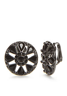 Kim Rogers Hematite-Tone Jet Stone Button Clip Earrings