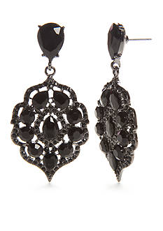 Kim Rogers® Hematite-Tone Jet Victorian Drop Drama Earrings