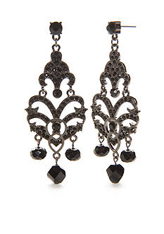 Kim Rogers® Hematite-Tone Jet Victorian Chandelier Earrings