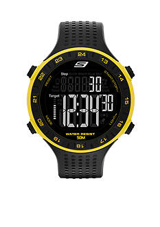 Skechers® Men's Black Silicone with Yellow Accent Digital Watch