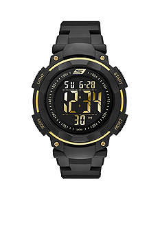 Skechers® Men's Black Silicone with Gold Accents Digital Watch