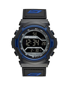 Skechers® Men's Black and Blue Silicone Digital Watch