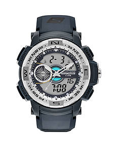 Skechers® Men's Three-Hand Digital Chronograph Grey Strap Watch