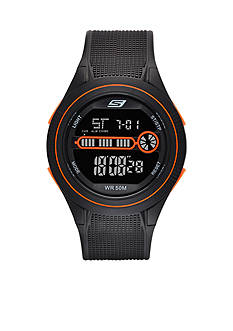 Skechers Men's Digital Chronograph Black and Orange Strap Watch