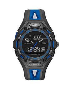 Skechers Men's Chronograph Black and Blue Silicone Watch