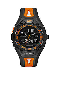 Skechers® Men's Chronograph Black and Orange Silicone Watch