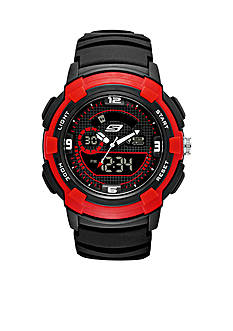 Skechers Men's Black and Red Silicone Watch
