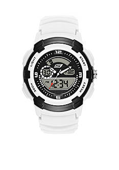 Skechers Men's Black and White Silicone Watch