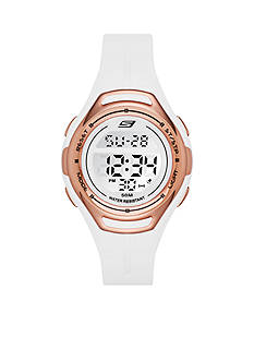 Skechers Women's White Silicone Digital Watch