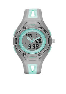 Skechers Women's Liberty Digital Gray and Mint Silicone Strap Watch