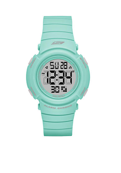 Skechers Women's Fisher Digital Grey and Mint Strap Watch