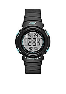 Skechers Women's Fisher Digital Black and Mint Strap Watch