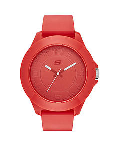 Skechers Men's Red Silicone Three-Hand Watch