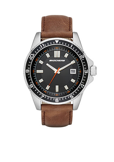 Skechers Men's Longfellow Three-Hand Brown Leather Strap Watch