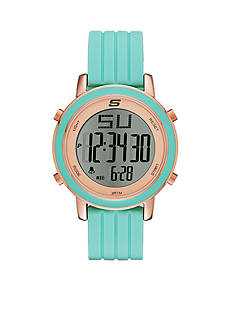 Skechers Women's Westport Digital Chronograph Mint Silicone Strap Watch