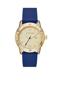 Skechers Women's Redondo Gold-Tone Three-Hand Navy Silicone Strap Watch