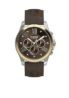 VERSUS VERSACE Men's Brown Lion Leather Watch