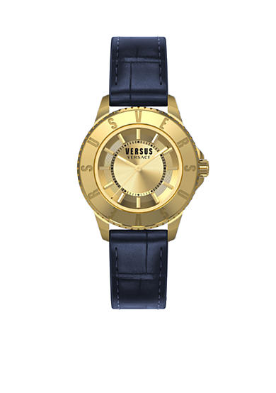 VERSUS VERSACE Women's Gold-Tone Leather Strap Watch