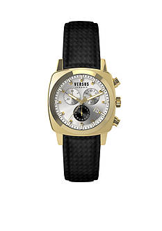 VERSUS VERSACE Men's Gold-Tone Leather Chronograph Watch
