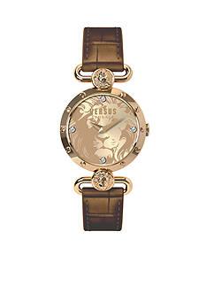 VERSUS VERSACE Women's Gold-Tone Brown Leather Watch