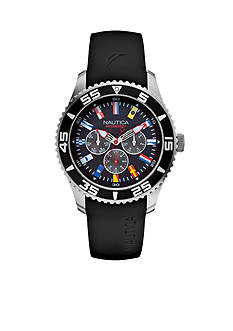 Nautica Men's NST 07 Flags Black Multi Function Watch
